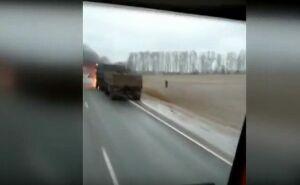 Видео: под Казанью на трассе загорелся «КАМАЗ»