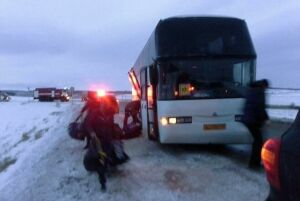 В Альметьевском районе автобус с юными хоккеистами столкнулся с фурой