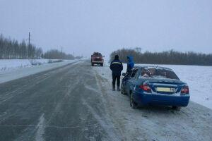 В Сармановском районе «Калины» столкнулись и улетели в кювет
