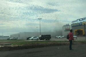 В Казани на кровле ТЦ «Порт» замечен дым