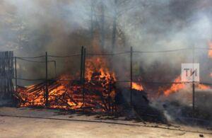 Появились фотографии с места пожара на базе отдыха в Тукаевском районе