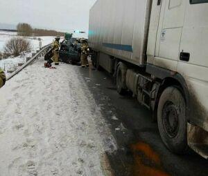 В Татарстане легковушка на встречке влетела под фуру, погибли женщина и ребенок