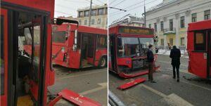 В центре Казани столкнулись два автобуса