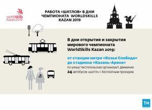 Наоткрытии изакрытии WorldSkills от«Козьей Слободы» будут курсировать бесплатные шаттлы