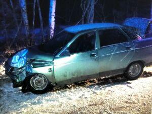 Под Челнами легковушку занесло на снегу и она врезалась в дерево
