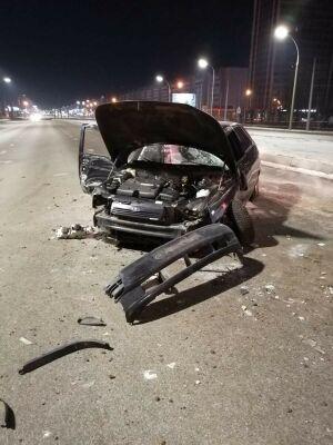 В Челнах пьяный водитель без прав врезался в дорожный знак и покалечил пассажира