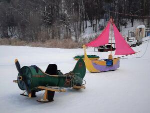 В Нижнекамске провели фестиваль креативных санок «Чана-шоу»