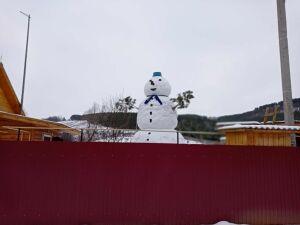 В мамадышском селе Малмыжка слепили шестиметрового снеговика-гиганта