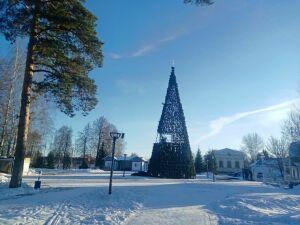 В Скарятинском саду Чистополя установили елку, горки и залили каток