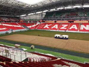 На «Ак Барс Арене» начали прошивку футбольного газона искусственными нитями