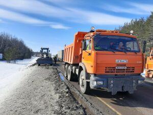 На М7 в Менделеевском районе РТ из-за ремонта дороги затруднено движение транспорта