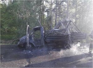 Грузовая «ГАЗель» выгорела дотла на трассе в Альметьевском районе РТ