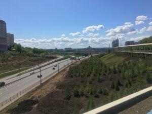 В Казани начали облагораживать склоны Аметьевской магистрали