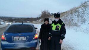В Татарстане инспекторы ГИБДД помогли вылетевшей с трассы в сугроб автоледи