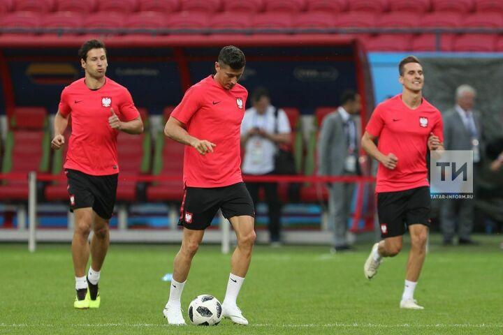 Футболисты сборной Польши опробовали газон Kazan-Arena перед матчем с Колумбией