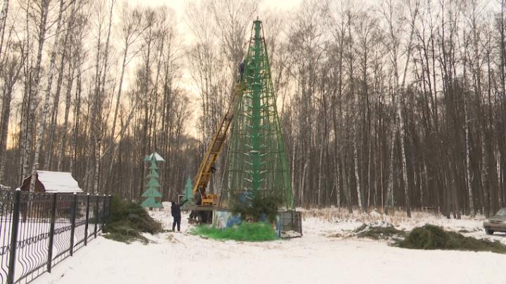В Высокогорском районе начался монтаж новогодних елок