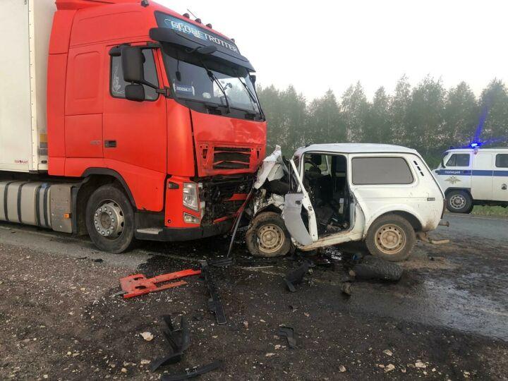 Три брата погибли в лобовом столкновении «Нивы» с фурой на трассе в РТ