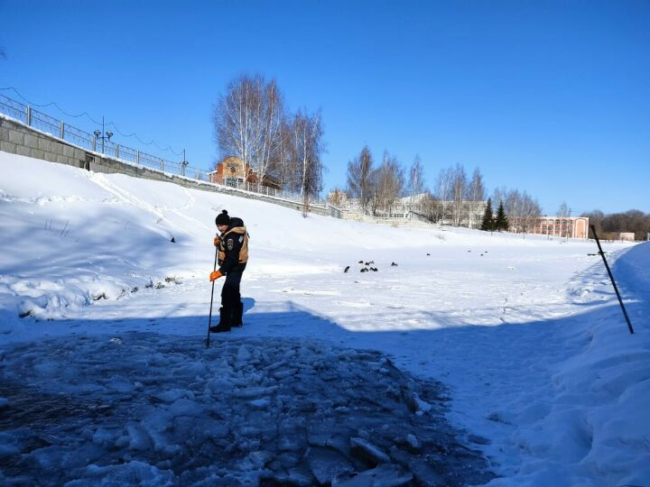 Альметьевские спасатели очистили от льда пруд, в котором зимуют утки