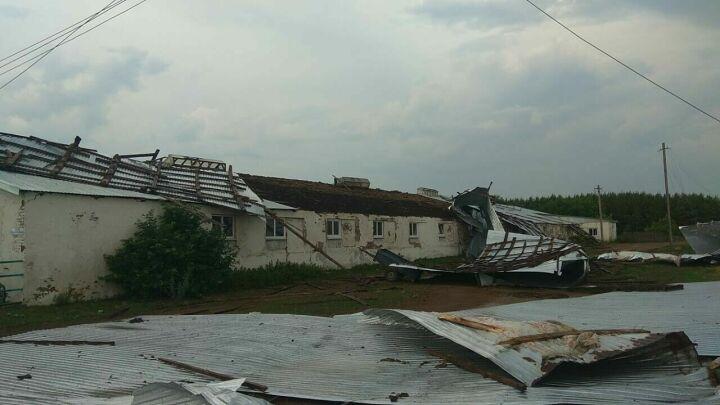 Сильный ветер сорвал кровлю с фермы и домов в двух районах Татарстана