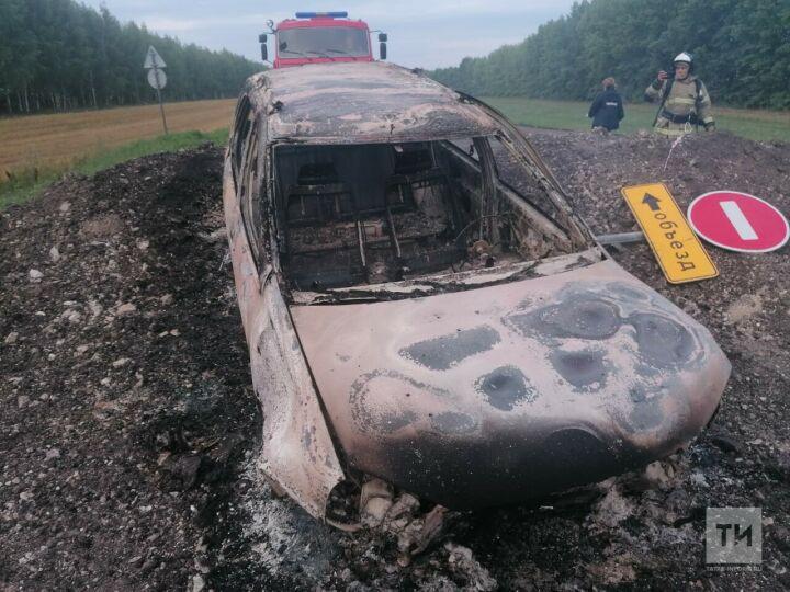 Рано утром под Буинском легковушка влетела в насыпь, снесла знак и загорелась