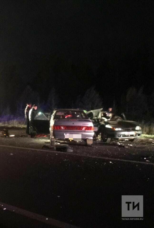 В Елабуге лоб в лоб столкнулись две легковушки, оба водителя погибли