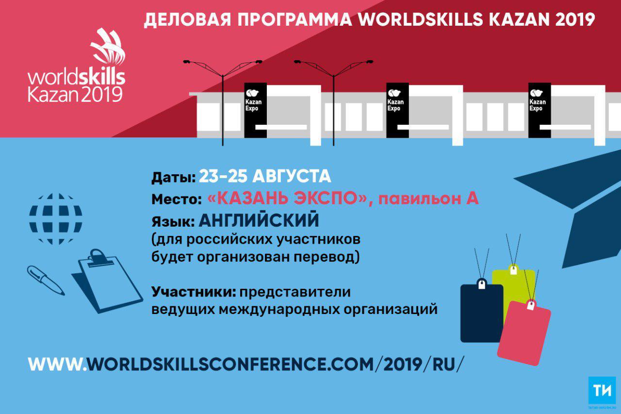 Деловая программа WorldSkills Kazan пройдет с 23 по 25 августа в «Казань Экспо»